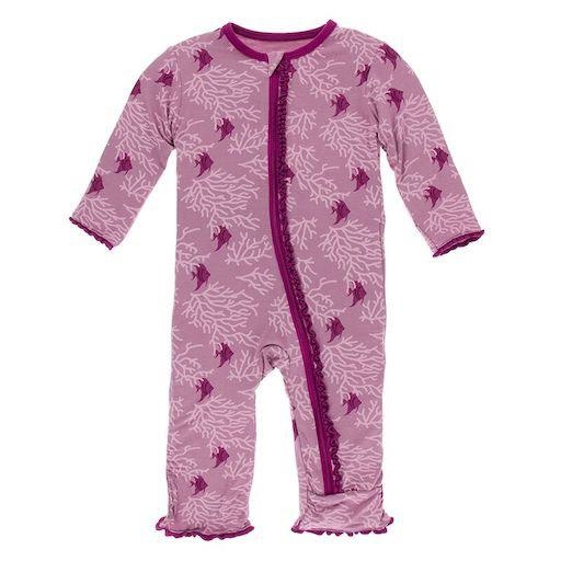 KICKEE PANTS PRINT MUFFIN RUFFLE COVERALL WITH ZIPPER IN PEGASUS CORAL FANS