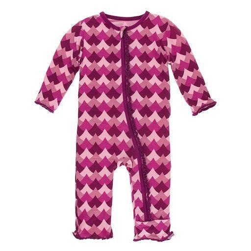 KICKEE PANTS PRINT MUFFIN RUFFLE COVERALL WITH ZIPPER IN MELODY WAVES