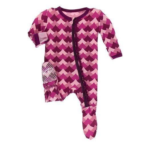 KICKEE PANTS PRINT CLASSIC RUFFLE FOOTIE WITH ZIPPER IN MELODY WAVES
