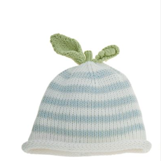 MUD PIE STRIPED BLUE PEA KNIT HAT