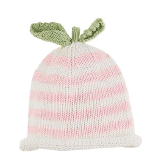 MUD PIE STRIPED PINK PEA KNIT HAT