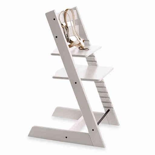 STOKKE TRIPP TRAPP CHAIR IN WHITE WITH STRAPS