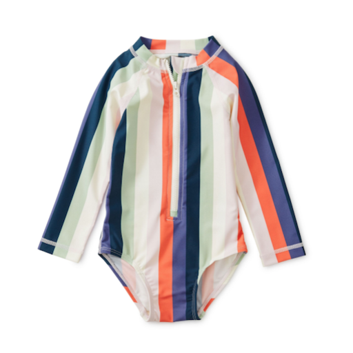 TEA STRIPED RASH GUARD ONE-PIECE