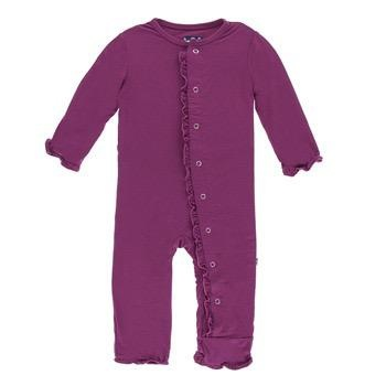KICKEE PANTS BASIC MUFFIN RUFFLE COVERALL WITH ZIPPER