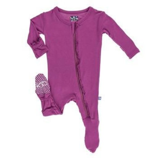 KICKEE PANTS BASIC MUFFIN RUFFLE FOOTIE WITH ZIPPER