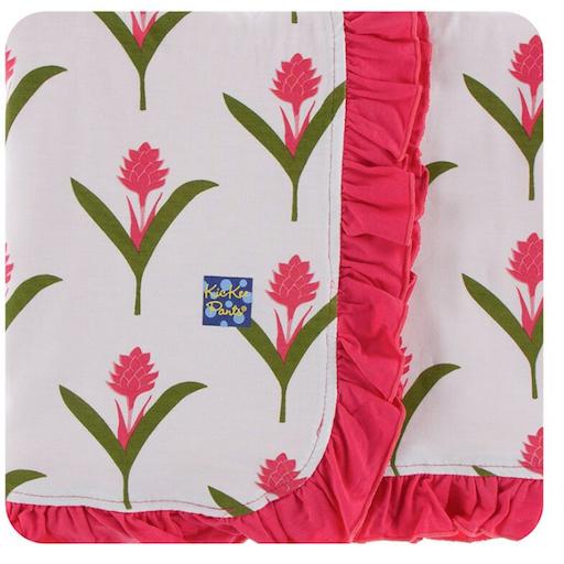 KICKEE PANTS PRINT RUFFLE STROLLER BLANKET IN NATURAL RED GINGER FLOWERS