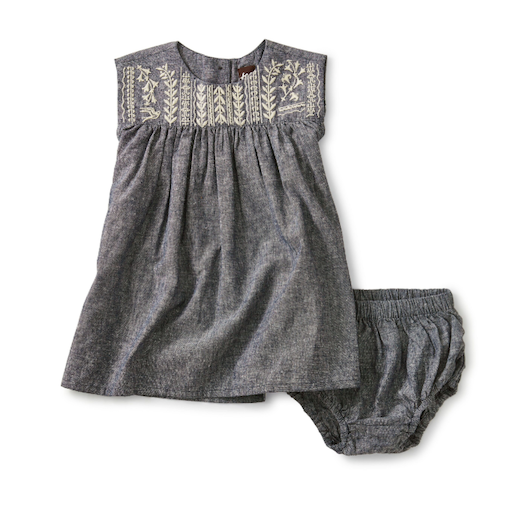 TEA FOOTED ROMPER EMBROIDERED CHAMBRAY DRESS