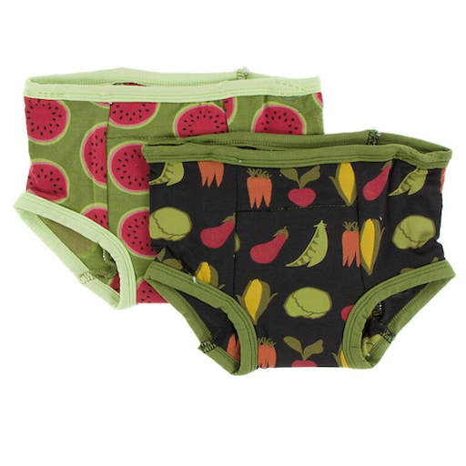 KICKEE PANTS TRAINING PANTS SET IN GRASSHOPPER WATERMELON AND ZEBRA GARDEN VEGGIES