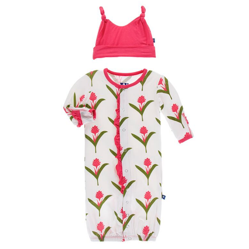 KICKEE PANTS PRINT RUFFLE GOWN CONVERTER AND DOUBLE KNOT HAT SET IN NATURAL RED GINGER FLOWERS