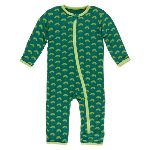 KICKEE PANTS PRINT COVERALL WITH ZIPPER IN IVY MINI TREES
