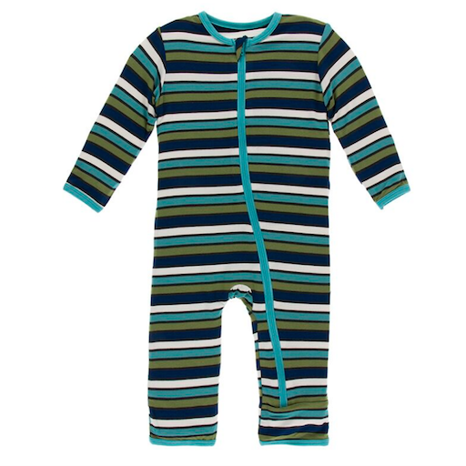 KICKEE PANTS PRINT COVERALL WITH ZIPPER IN BOTANY GRASSHOPPER STRIPE