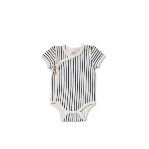 PEHR STRIPES AWAY SHORT SLEEVE KIMONO ONESIE