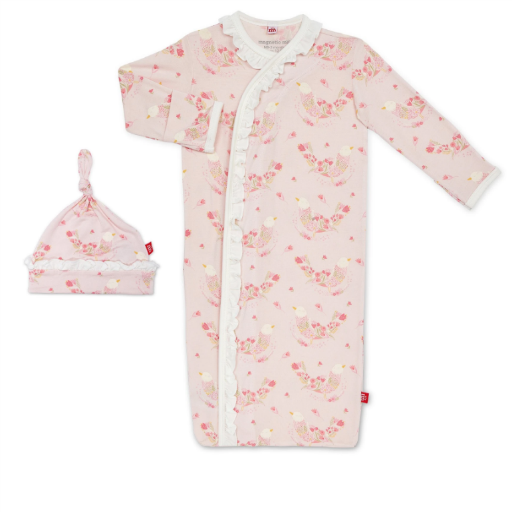 MAGNIFICENT BABY BIRDS OF PARADISE MODAL SACK GOWN & HAT SET
