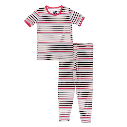KICKEE PANTS BASIC SHORT SLEEVE PAJAMA SET IN CHEMISTRY STRIPE