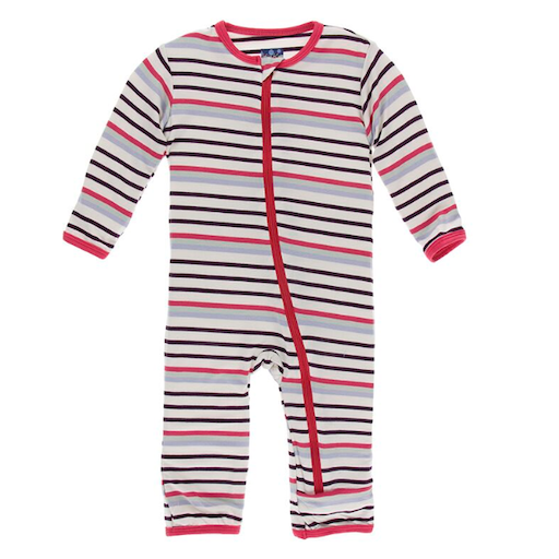 KICKEE PANTS PRINT COVERALL WITH ZIPPER IN CHEMISTRY STRIPE