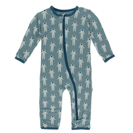 KICKEE PANTS PRINT COVERALL WITH ZIPPER IN DUSTY SKY ASTRONAUT