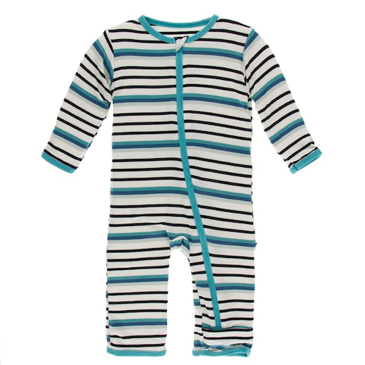 KICKEE PANTS PRINT COVERALL WITH ZIPPER IN NEPTUNE STRIPE