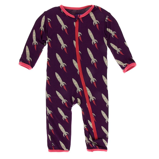 KICKEE PANTS PRINT COVERALL WITH ZIPPER IN WINE GRAPE ROCKETS