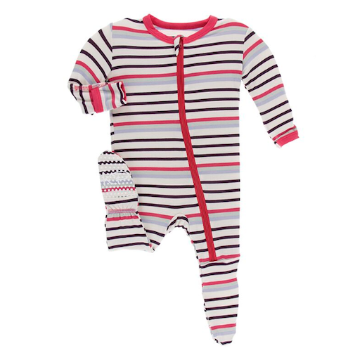 KICKEE PANTS PRINT FOOTIE WITH ZIPPER IN CHEMISTRY STRIPE