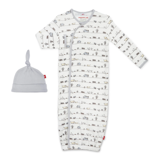 MAGNIFICENT BABY DIG IN ORGANIC COTTON MAGNETIC SACK & HAT SET