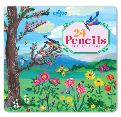 EEBOO BIRD & TREE 24 COLOR PENCILS