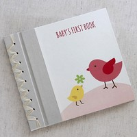 RAG & BONE BABY'S FIRST BOOK, TINY BIRDS PINK