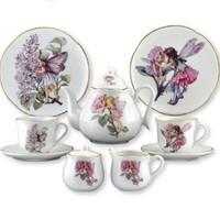 REUTTER PORCELAIN FLOWER FAIRIES LARGE TEA SET IN BOX