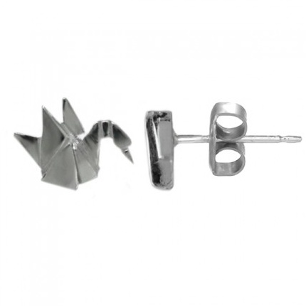 BOMA STERLING SILVER CRANE STUD EARRINGS