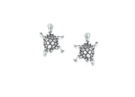 BOMA STERLING SILVER TURTLE POST EARRINGS