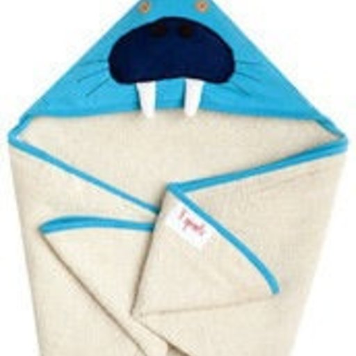 3 SPROUTS 3 SPROUTS BLUE WALRUS HOODED TOWEL