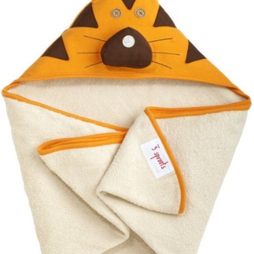 3 SPROUTS 3 SPROUTS ORANGE TIGER HOODED TOWEL