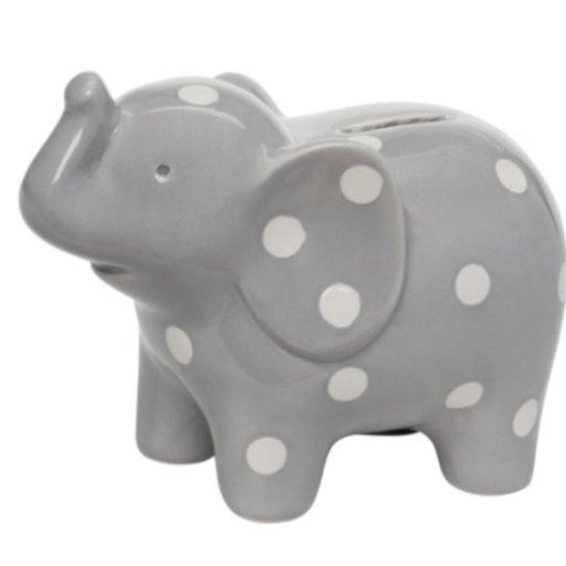 ELEGANT BABY CERAMIC GREY ELEPHANT BANK