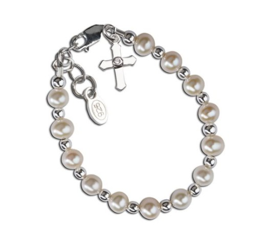 CHERISHED MOMENTS, LLC CHRISTENING BRACELET - FRESHWATER PEARLS WITH SILVER & CROSS
