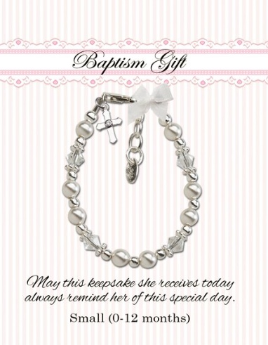 CHERISHED MOMENTS, LLC CHRISTENING BRACELET -WHITE GLASS PEARLS WITH CRYSTALS