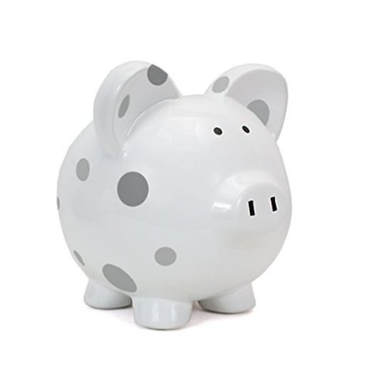 CHILD TO CHERISH GREY MULTI DOT PIGGY BANK