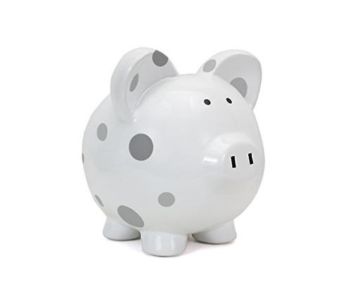 CHILD TO CHERISH GREY MULTI DOT PIGGY BANK