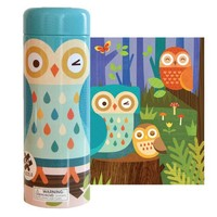 PETIT COLLAGE OWL FAMILY 64-PIECE TIN CANISTER PUZZLE