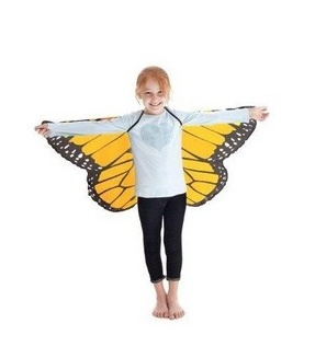 DOUGLAS CO. DREAMY DRESS UP ORANGE MONARCH BUTTERFLY WINGS WITH GLITTER