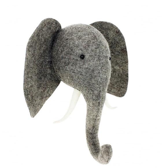 FIONA WALKER FIONA WALKER ENGLAND ELEPHANT WITH TRUNK UP WALL MOUNT