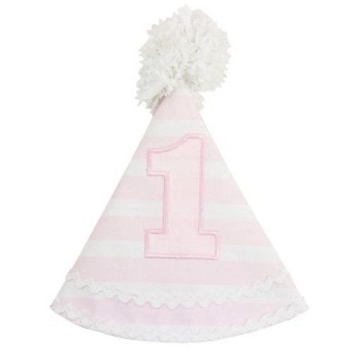 RUFFLEBUTTS, INC. PINK STRIPE BIRTHDAY HAT