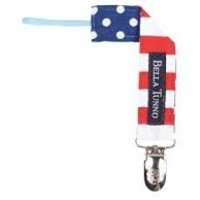 BELLA TUNNO SMALL RED RUGBY/DOTS NAVY PACIFIER CLIP