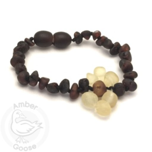 MOMMA GOOSE PRODUCTS AMBER CHERRY WITH HONEY FLOWER BRACELET