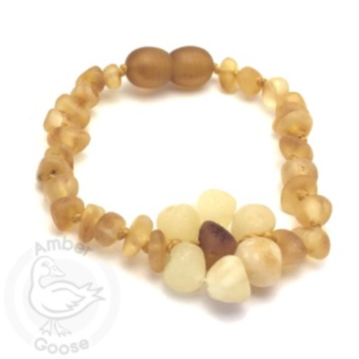 MOMMA GOOSE PRODUCTS AMBER HONEY WITH MILKY FLOWER BRACELET