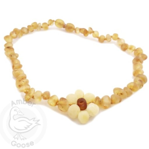 MOMMA GOOSE PRODUCTS AMBER HONEY WITH MILK FLOWER NECKLACE SM