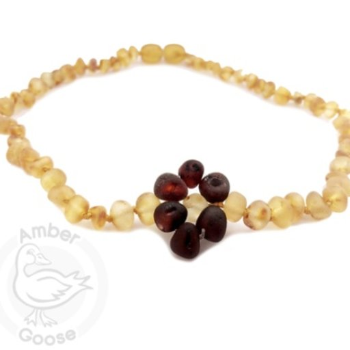 MOMMA GOOSE PRODUCTS AMBER HONEY WITH CHERRY FLOWER NECKLACE