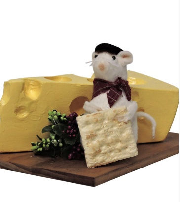 BYERS' CHOICE MOUSE WITH SWISS CHEESE
