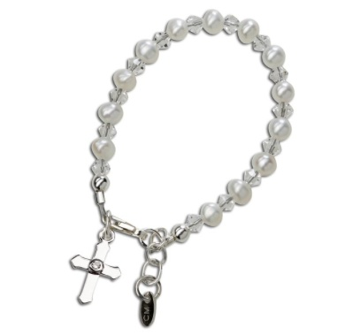 CHERISHED MOMENTS, LLC SILVER BRACELET WITH PEARLS & CRYSTALS WITH CROSS