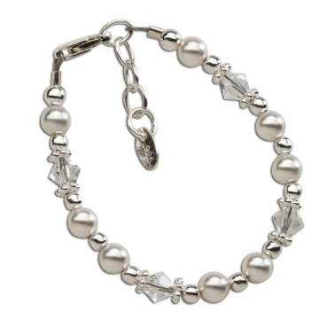 CHERISHED MOMENTS, LLC SILVER BRACELET WITH PEARLS & CRYSTALS-SMALL