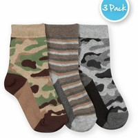 JEFFERIES SOCKS CAMOUFLAGE AND STRIPE CREW SOCKS PACK