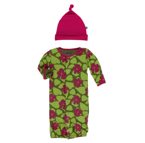 KICKEE PANTS PRINT LAYETTE GOWN CONVERTER & KNOT HAT SET, PESTO HIBISCUS,NB